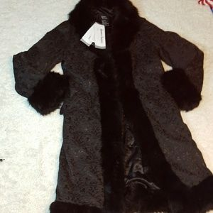 NWT Dennis Basso pattern fur trim trench coat Med